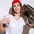 young happy woman holding tape recorder stock photo © deandrobot