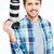 happy photographer holding photo camera stock photo © deandrobot