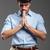бизнесмен · молиться · христианской · глядя · изолированный · белый - Сток-фото © deandrobot