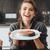 boldog · nő · áll · konyha · főzés · hal - stock fotó © deandrobot