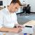 empresário · sessão · secretária · laptop · estatística · isolado - foto stock © deandrobot