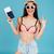 jovem · turista · passaporte · retrato · tiro · bonito - foto stock © deandrobot