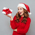 jonge · vrouw · hoed · geschenkdoos · witte - stockfoto © deandrobot