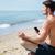 férfi · zenét · hallgat · meditál · fülhallgató · 3D · arc - stock fotó © deandrobot