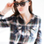 portré · fiatal · vonzó · lezser · lány · kockás - stock fotó © deandrobot