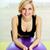 фитнес · улыбающаяся · женщина · Purple · мяча · белый · женщину - Сток-фото © deandrobot