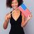 vatansever · kadın · ABD · bayrak · mutlu - stok fotoğraf © deandrobot
