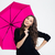portrait of a smiling woman holding umbrella stock photo © deandrobot
