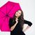 portrait of a smiling woman holding umbrella stock photo © deandrobot