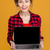 happy attractive young woman holding blank screen laptop stock photo © deandrobot