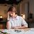 trabalhando · horas · extras · mulher · dor · de · cabeça · sofrimento - foto stock © deandrobot