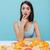 aantrekkelijk · jonge · vrouw · vergadering · witte · tabel · Geel - stockfoto © deandrobot