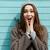 portret · jonge · vrouw · bril · schreeuwen - stockfoto © deandrobot