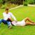 Coppia · riposo · erba · parco · rilassante · sera - foto d'archivio © deandrobot