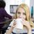 gülen · kadın · fotoğraf · editör · oturma · tablo - stok fotoğraf © deandrobot