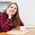 женщину · телефон · питьевой · кофе · улыбающаяся · женщина - Сток-фото © deandrobot