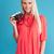 portre · gülen · sarışın · kadın · Retro · kamera - stok fotoğraf © deandrobot