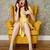 függőleges · kép · megrémült · nő · fotel · beszél - stock fotó © deandrobot
