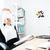 gelukkig · uitvoerende · vergadering · laptop · armen · tabel - stockfoto © deandrobot