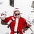 stylish santa claus in sunglasses smoking and throwing money stock photo © deandrobot