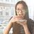 молодые · азиатских · женщину · еды · торт · подоконник - Сток-фото © deandrobot