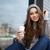potable · cappuccino · extérieur · joli · asian · femme - photo stock © deandrobot