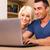 knap · gelukkig · paar · winkelen · online · laptop · computer - stockfoto © deandrobot