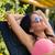 happy woman sunbathing on the deckchair stock photo © deandrobot
