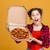 Portrait of charming amusing young woman holding pizza stock photo © deandrobot
