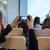 vídeo · conferência · negócio · reunião · de · negócios · quarto · tela - foto stock © deandrobot
