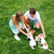 couple petting their dogs on the grass in park stock photo © deandrobot