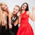 three relaxed attractive young women drinking champagne and dancing stock photo © deandrobot