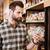 man · mobiele · telefoon · winkelen · kruidenier · winkel - stockfoto © deandrobot