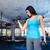 aranyos · lány · testmozgás · súlyzók · fehér · póló - stock fotó © deandrobot