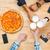 młodych · ludzi · jedzenie · pizza · pitnej · jabłecznik - zdjęcia stock © deandrobot