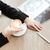 fiatal · nő · olvas · újság · iszik · reggel · kávé - stock fotó © deandrobot