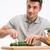 vág · uborka · közelkép · férfi · főzés · saláta - stock fotó © deandrobot