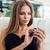 genç · kadın · oturma · restoran · çekici · telefon - stok fotoğraf © deandrobot