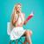 sorridente · mulher · jovem · notas · sessão · cadeira - foto stock © deandrobot