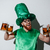 bearded guy in stpatriks costume holding many cups stock photo © deandrobot