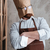 Man baker standing with paper bag on head stock photo © deandrobot