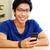 sorridente · asiático · homem · casa · feliz - foto stock © deandrobot