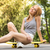 young girl resting on skateboard stock photo © deandrobot