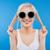 feliz · jovem · mulher · loira · adolescente · óculos · de · sol · emoções - foto stock © deandrobot