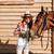 caballo · mujeres · formación · negro · equitación · nina - foto stock © deandrobot