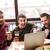 gelukkig · mannen · vrienden · vergadering · cafe · eten - stockfoto © deandrobot