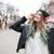 vrolijk · jonge · vrouw · lopen · straat · naar · foto - stockfoto © deandrobot