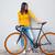 mulher · em · pé · bicicleta · casual · mulher · jovem · cinza - foto stock © deandrobot