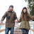 couple holding hands and running down the stairs in winter stock photo © deandrobot