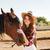 mooi · meisje · zwart · haar · paard · mooie · vrouw · blad - stockfoto © deandrobot